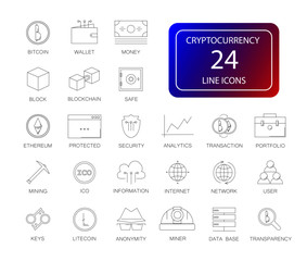 Line icons set. Cryptocurrency pack. Vector illustration