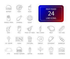 Line icons set. Fast Food pack. Vector illustration