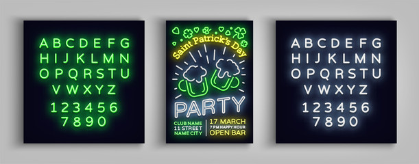 St. Patricks Day Party Poster. Design template typography in neon style, Neon sign, Bright flyer, Flare banner, Invitation to party, festival celebration. Vector illustration. Editing text neon sign