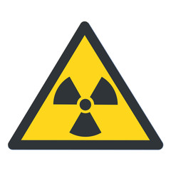 Radioactive contamination in the triangle sign flat design vector illustration. Bllack triangle and sign, yellow background. Toxic sign, warning of radioactive zone isolated on white background. Radio