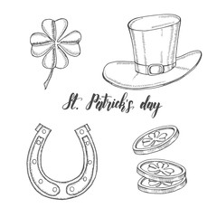 Hand drawn vintage set for St Patrick's day. St. Patrick's hat, horseshoe, four-leaf clover and gold coins. Lettering. Engraving illustrations