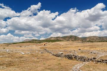 Sunny view of ruins of ancient Hierapolis near Pamukkale, Denizli province, Turkey.
