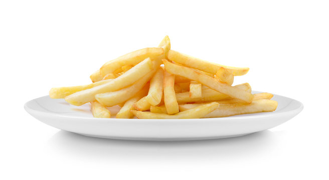 French fries in plate isolated on white background