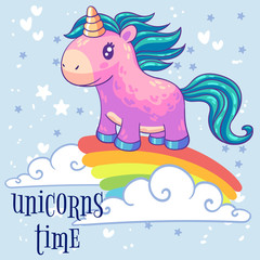 Little pink pony unicorn standing on a rainbow. Cartoon character. It can be used for sticker, patch, phone case, poster, t-shirt, mug and other design.