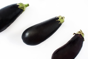 Raw eggplant isolated on white background
