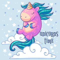 Little pink unicorn pony sleeping in the clouds. Cartoon character. It can be used for sticker, patch, phone case, poster, t-shirt, mug and other design.