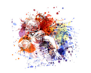 Vector color illustration american football player