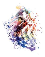 Vector color illustration of a skaterboarder