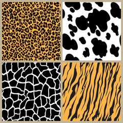 Print set safari jungle animal fur stripe animals bengal tiger giraffe zebra cow texture pattern seamless repeating white black orange
