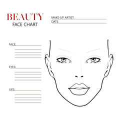 Face chart makeup artist blank template vector illustration category maxwellsz
