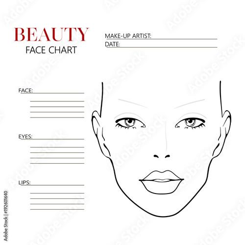 blank makeup artist face charts