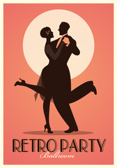 Fototapete - Retro Party Poster. Silhouettes of couple wearing clothes in the style of the twenties dancing Charleston