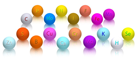 stylized balls with vitamins on a white background