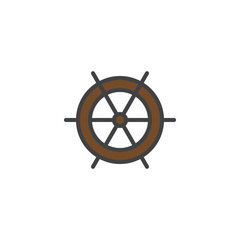 Ship steering wheel filled outline icon, line vector sign, linear colorful pictogram isolated on white. Ship helm symbol, logo illustration. Pixel perfect vector graphics