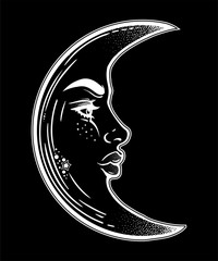 Romantic crescent moon as a beautiful woman face.