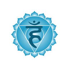 vishuddha chakra icon symbol esoteric yoga indian buddhism hinduism vector