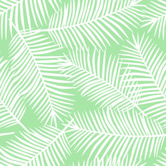 white palm leaves on a light green background exotic seamless pattern vector