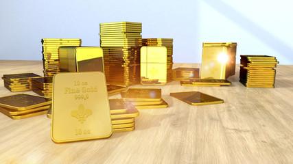 Fototapete - Goldbarren auf einem Holztisch