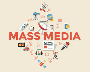 Digital mass media objects color simple flat
