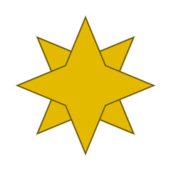 Gold eight-pointed star. Accurate geometric dimensions. Abstract concept. Vector illustration on white background.