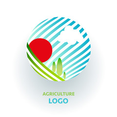 Agriculture logo. Creative organic sign. Green nature concept with field and sun.