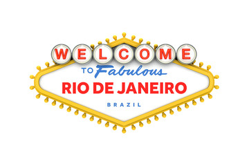 Welcome to Rio De Janeiro sign in classic las vegas style design . 3D Rendering