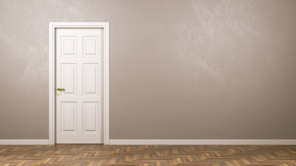 Closed White Door in the Room with Copyspace