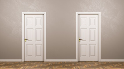 Two Closed White Doors in Front in the Room