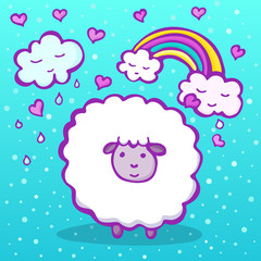 Cute sheep on a blue background with a rainbow, clouds and hearts