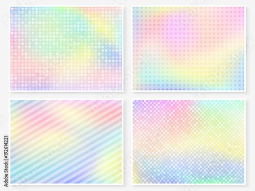 Hologram Wallpaper Set Pastel Rainbow Blurs