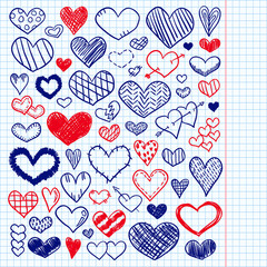 Valentines day hearts doodles set. Romantic collection. Hand drawn vector. Exercise book paper. Love sketches for web design or printed products. Hearts sketch. Stickers.