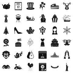 Folklore holiday icons set, simple style
