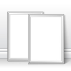 Frames template near wall on the floor vector silver grey
