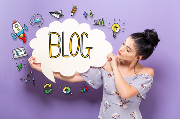 Blog with young woman holding a speech bubble