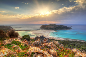 Sunset over beautiful Balos beach on Crete, Greece