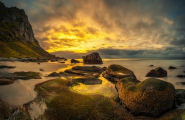 Wall Mural - Uttakleiv beach in Norway at sunset
