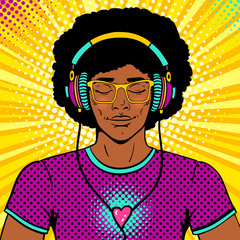 Young sexy man with afro hairstile, smile and closed eyes in brighy glasses and headphones listening to the music. Vector colorful background in pop art retro comic style. Party invitation poster.