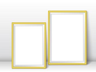 Frames near wall realistic templates vector illustration golden