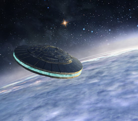 Wall Murals UFO Ufo in orbit