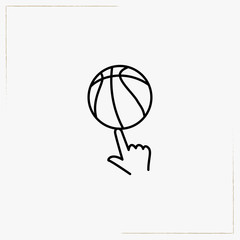 ball on finger line icon