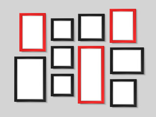 Picture frames wall photo gallery mock up vector black red