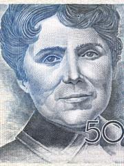 Rosalia de Castro portrait from Spanish money