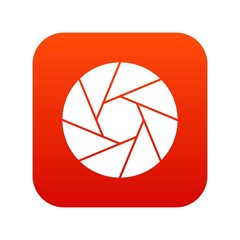 Little objective icon digital red