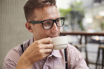 Male with coffee