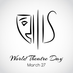 World theatre day greeting card. Vector emblem