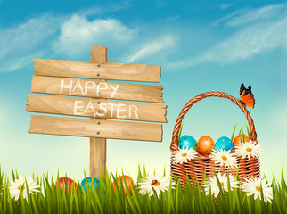 Spring Easter background. Basket with Easter eggs in grass with flowers and wooden sign. Vector.