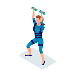 Girl at fitness center doing ems workout, gymnastics with equipment, modern electric sport training, isometric 3d vector illustration