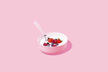 Healthy Morning Breakfast against Pink Background, Studio Shot