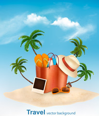 Vacation concept. Beach with a palm tree, a photograph and a beach bag. Vector.