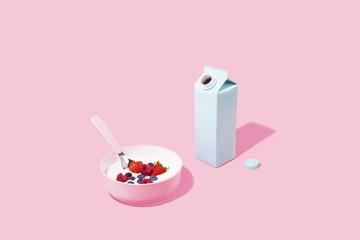 Healthy Morning Breakfast Cereal on Pink Background, Studio Shot